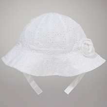 Buy John Lewis Baby Broderie Hat, White Online at johnlewis.com