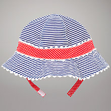 Buy John Lewis Baby Reversible Spot & Stripe Sun Hat, Blue/Red Online at johnlewis.com