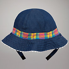 Buy John Lewis Baby Reversible Chambray Sun Hat, Blue/Multi Online at johnlewis.com