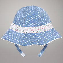Buy John Lewis Baby Reversible Floral Sun Hat, Blue/White Online at johnlewis.com