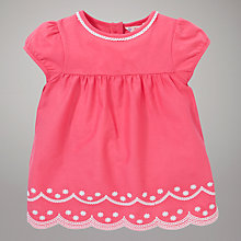 Buy John Lewis Scalloped Edge Embroidered Top, Pink Online at johnlewis.com