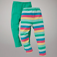 Buy John Lewis Stripe & Plain Leggings, Pack of 2, Green/Multi Online at johnlewis.com