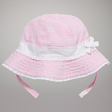 Buy John Lewis Baby Seersucker Sun Hat, Pink Online at johnlewis.com