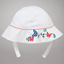 Buy John Lewis Baby Butterfly Embroidered Sun Hat, White Online at johnlewis.com
