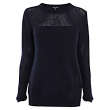 Buy Warehouse Pointelle Yoke Jumper, Navy Online at johnlewis.com