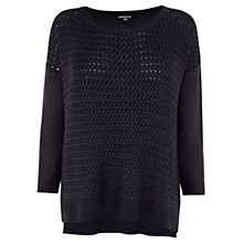 Buy Warehouse Wet Look Cable Jumper, Navy Online at johnlewis.com