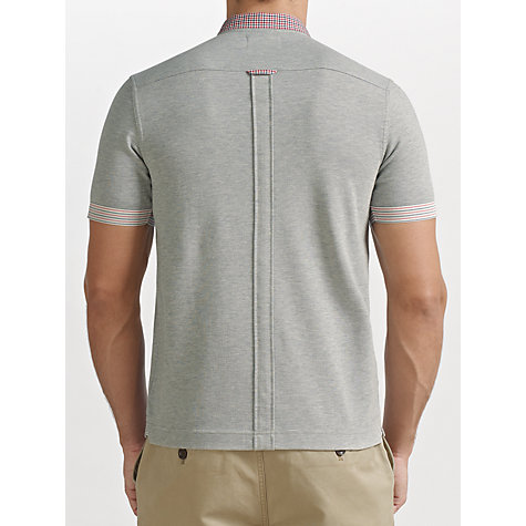 Buy Fred Perry Check and Stripe Detail Polo Top, Marl Grey Online at johnlewis.com