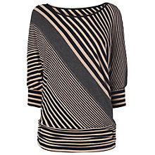 Buy Phase Eight Diagonal Stripe Dana Top, Black/Oatmeal Online at johnlewis.com