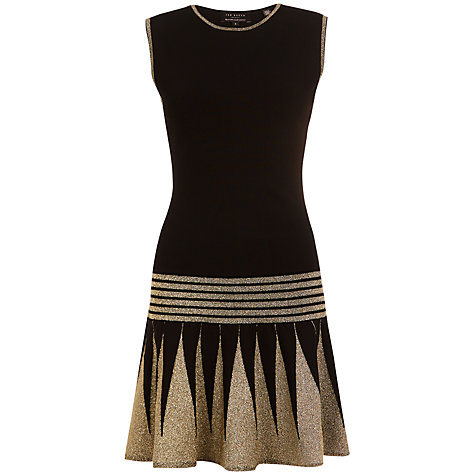 Buy Ted Baker Kandis Knitted Flapper Dress, Black Online at johnlewis.com