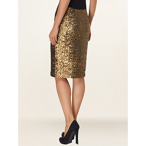 Buy Phase Eight Rhonda Sequin Skirt, Gold Online at johnlewis.com