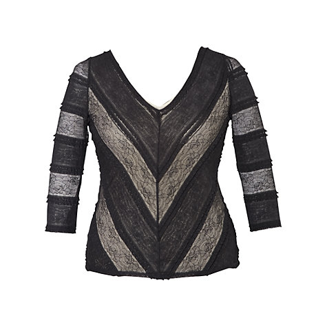 Buy Chesca Lined Striped Lace Top, Black Online at johnlewis.com