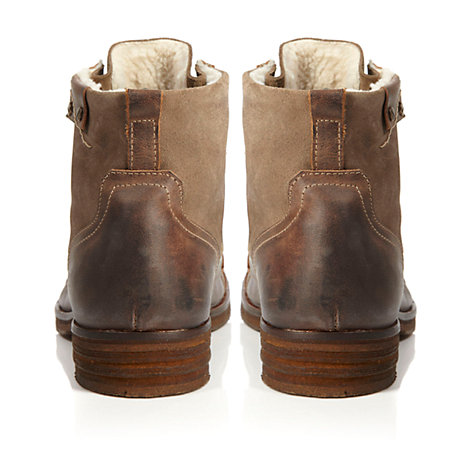 Buy Dune Cropper Toe Cap Shearling Lace Up Boots, Brown Online at johnlewis.com