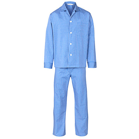 Buy Derek Rose Check Woven Pyjamas, Blue Online at johnlewis.com