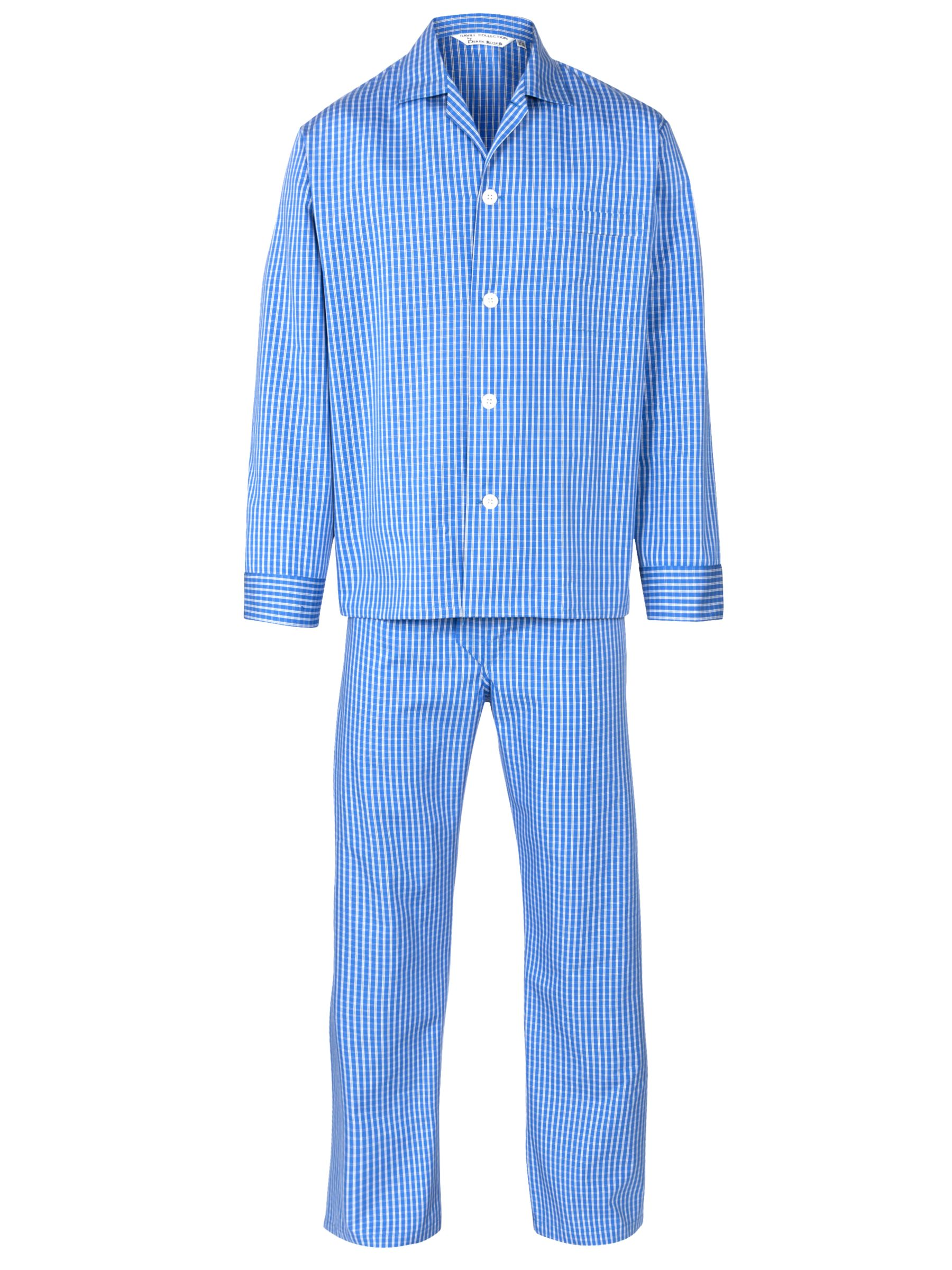 Derek Rose Check Woven Pyjamas, Blue