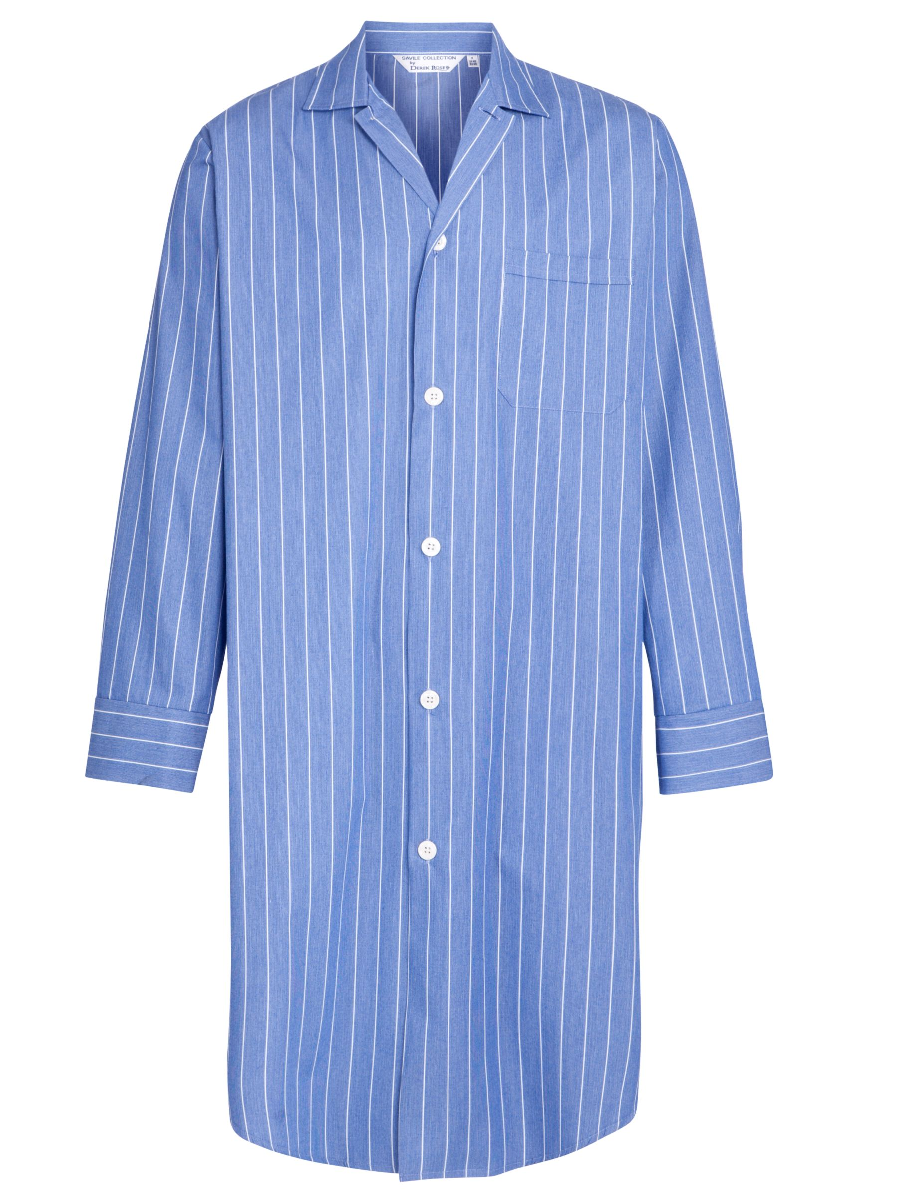 Derek Rose Stripe Stripe Nightshirt, Blue