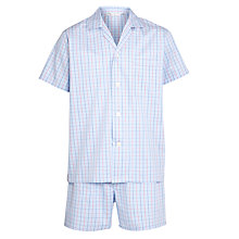 Buy Derek Rose Check Short Pyjamas, Blue Online at johnlewis.com