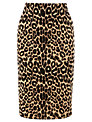 Warehouse Animal Print Skirt, Brown