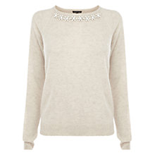 Buy Warehouse Jewel Detail Jumper, Cream Online at johnlewis.com