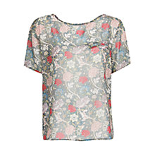 Buy Mango Floral Print Chiffon Blouse, Black Online at johnlewis.com