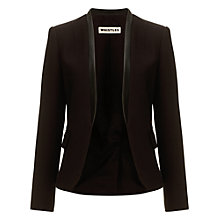 Buy Whistles Alex Leather Collar Jacket, Black Online at johnlewis.com