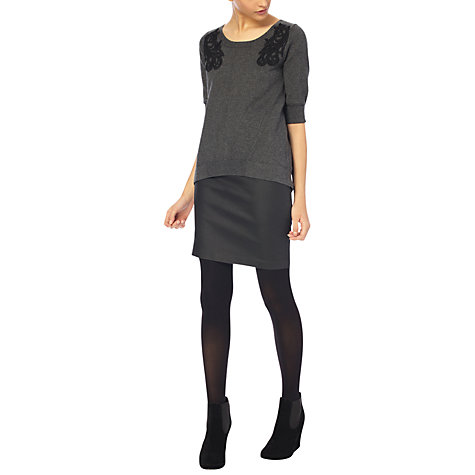 Buy French Connection Bach Jumper, Dark Grey Melange/Black Online at johnlewis.com