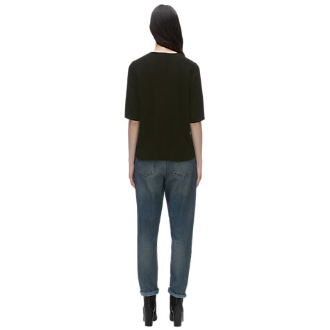 Buy Whistles Neck Detail Sculptured Top, Black Online at johnlewis.com