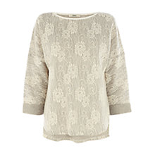 Buy Oasis Lace Sweatshirt, Multi Grey Online at johnlewis.com