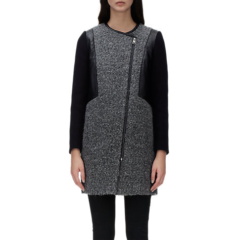 Buy Whistles Ally Textured Biker Coat, Grey Online at johnlewis.com