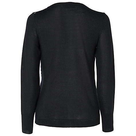 Buy Jaeger Lace Front Jumper, Black Online at johnlewis.com