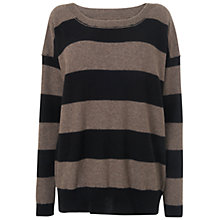Buy Jaeger Striped Oversized Jumper, Taupe Online at johnlewis.com