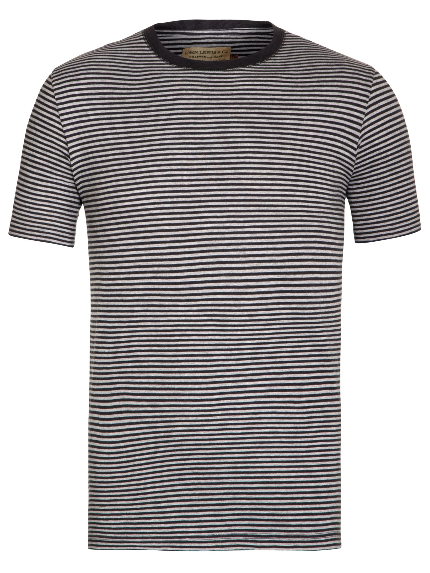JOHN LEWIS & Co. Slim Stripe T-Shirt, Red Image