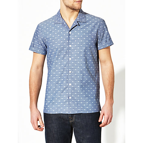 Buy JOHN LEWIS & Co. Single Dot Print Bowling Shirt, Indigo Online at johnlewis.com