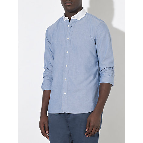 Buy JOHN LEWIS & Co. Contrast Penny Collar Long Sleeve Shirt, Pale Blue Online at johnlewis.com