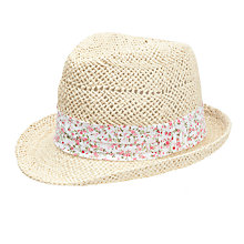 Buy John Lewis Girl Straw Trilby with Scarf, Natural Online at johnlewis.com