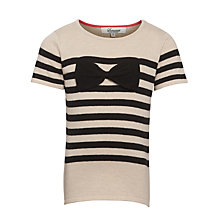 Buy Somerset by Alice Temperley Girls' Stripe Bow Jumper, Black/Cream Online at johnlewis.com
