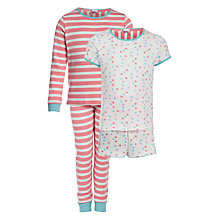 Buy John Lewis Girl Spots and Stripes Pyjamas, Pack of 2, Multi Online at johnlewis.com