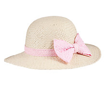 Buy John Lewis Girl Straw Hat with Bow, Natural Online at johnlewis.com