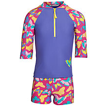 Buy John Lewis Girl Butterfly Print Sun Pro Suit, Pink/Lilac Online at johnlewis.com
