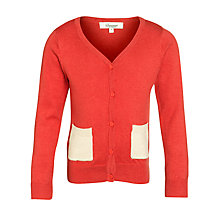 Buy Somerset by Alice Temperley Girls' Contrast Pocket Cardigan, Red/Cream Online at johnlewis.com