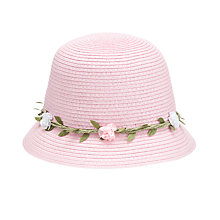 Buy John Lewis Girl Straw Hat with Garland, Pink Online at johnlewis.com
