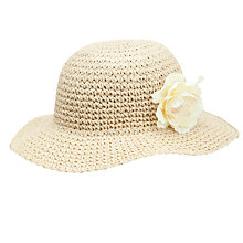 Buy John Lewis Girl Straw Cloche with Corsage, Natural Online at johnlewis.com