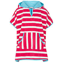 Buy John Lewis Girl Stripe Towelling Poncho, Fuchsia Online at johnlewis.com