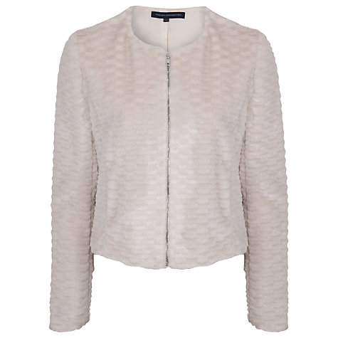 Buy French Connection Rubix Faux Rabbit Zip Jacket, Snowball Online at johnlewis.com
