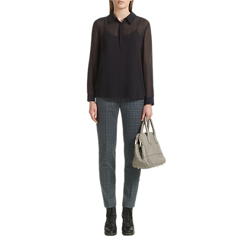 Buy Jigsaw Estelle Check Trousers, Grey Online at johnlewis.com