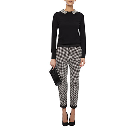 Buy French Connection Jacquard Trousers, White Diamond/Black Online at johnlewis.com
