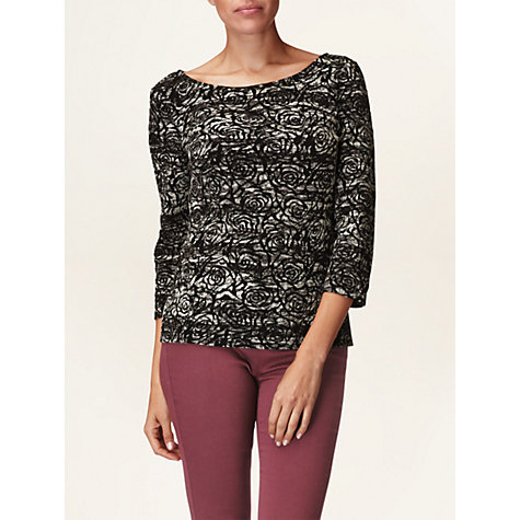 Buy Phase Eight Rose Jacquard Top, Black/Ivory Online at johnlewis.com