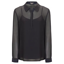 Buy Jigsaw Contrast Colour Silk Shirt, Black Online at johnlewis.com