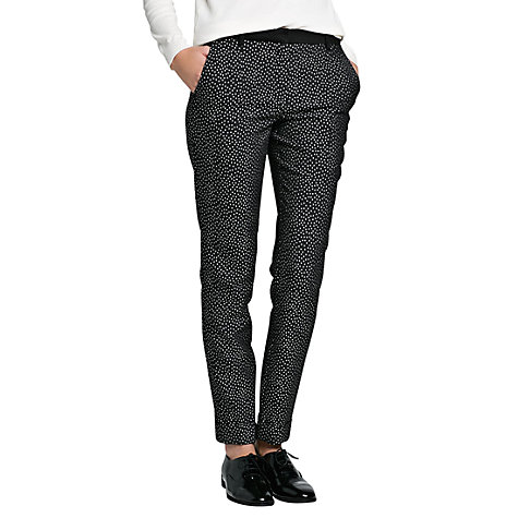 Buy Mango Jacquard Tapered Trousers, Black Online at johnlewis.com
