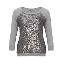 Buy Jigsaw Sequin Front Jumper, Mid Grey Online at johnlewis.com