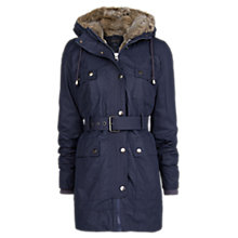Buy Mango Faux Fur Lined Coat, Navy Online at johnlewis.com
